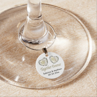 Mr and Mrs Together Forever in Silver & Gold Wine Charm