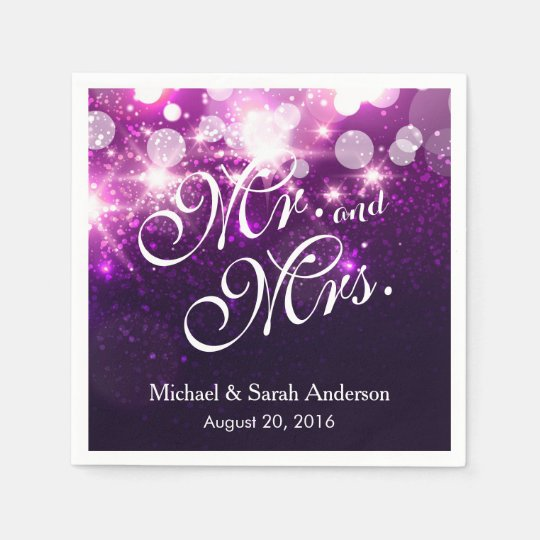 Mr. and Mrs. Trendy Purple Glitter Sparkle Wedding