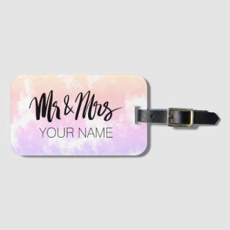Mr and Mrs typography luggage tag for newly weds