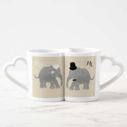 Mr. and Mrs. Vintage Groom and Bride Elephants