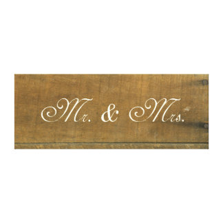 Mr and Mrs Vintage Inspired Old Wooden Sign Stretched Canvas Print
