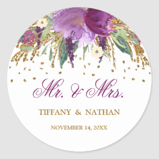 Mr and Mrs Watercolor Floral Sparkling Amethyst Classic Round Sticker