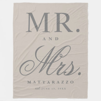 Mr. and Mrs. wedding anniversary blanket
