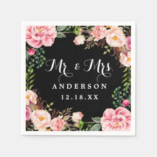 Mr and Mrs Wedding Classy Pink Flowers Wreath Paper Napkin