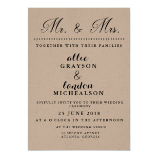 Mr. and Mrs. Wedding Invitation