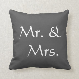 Mr. and Mrs. Wedding | Rustic dark gray Cushion