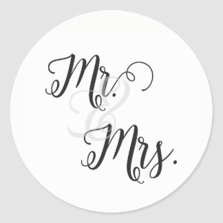 Mr and Mrs Wedding Stickers- Black and White Classic Round Sticker