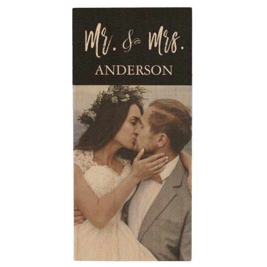 Mr. and Mrs. White Typography Wedding Photos USB Wood USB 2.0 Flash Drive