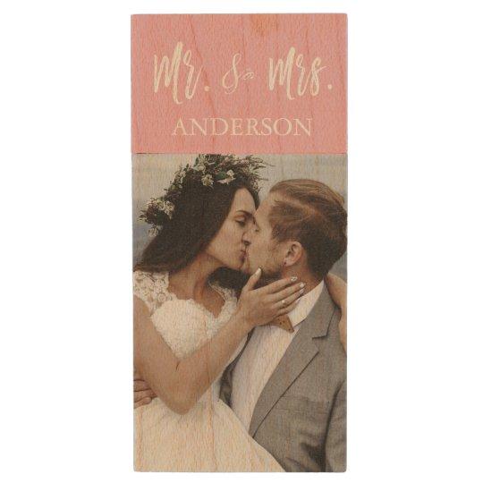 Mr. and Mrs. White Typography Wedding Photos USB Wood USB 2.0 Flash Drive