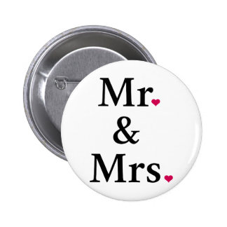 mr. and mrs. with two red hearts 6 cm round badge