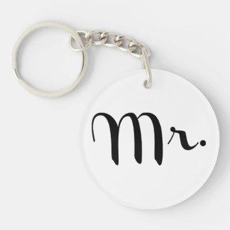 Mr. Black on White Single-Sided Round Acrylic Key Ring