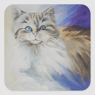 Mr. Blue Eyes, watercolor cat painting Square Sticker