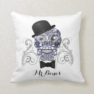 Mr Bones Fun Ornate Sugar Skull Design Cushion