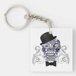 Mr Bones Fun Ornate Sugar Skull Graphic Image Key Ring