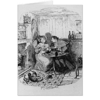 Mr Bumble and Mrs Corney taking tea Greeting Card