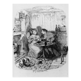 Mr Bumble and Mrs Corney taking tea Postcard