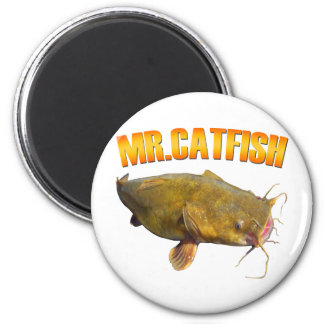 Mr Catfish fishing 6 Cm Round Magnet