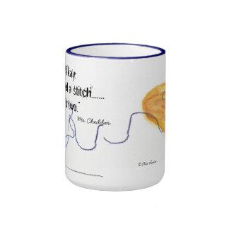 Mr Cheddar Cat Cup For Knitters Ringer Mug