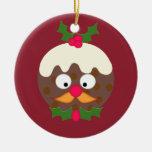 Mr Christmas Pudding Round Ceramic Decoration