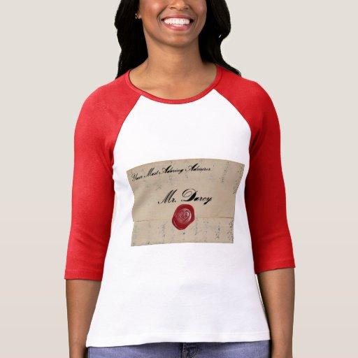 Mr Darcy Regency Love Letter Tshirts