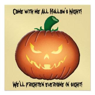 Mr Evil Jack O Lantern Halloween Gold Invitation
