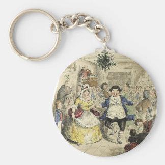 Mr. Fezziwig's Ball, A Christmas Carol Basic Round Button Key Ring