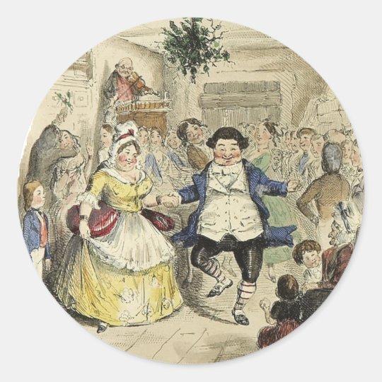Mr. Fezziwig's Ball, A Christmas Carol Classic Round Sticker
