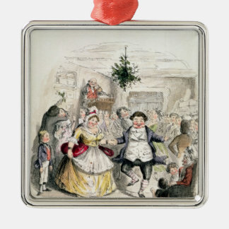 Mr Fezziwig's Ball, from 'A Christmas Carol' Silver-Colored Square Decoration