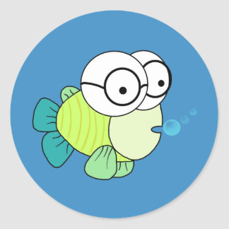Mr Fish Classic Round Sticker