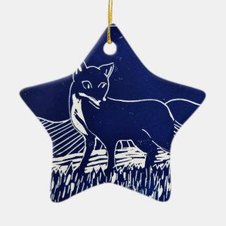 Mr Fox Ceramic Star Decoration