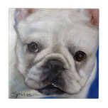 """""""Mr. French"""" french Bulldog frenchie art painting Small Square Tile"""