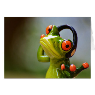 Mr. Frog with Headphones Card
