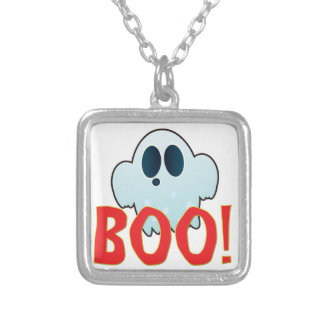 Mr Ghosty Big Boo Square Pendant Necklace