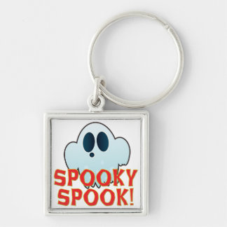 Mr Ghosty Spooky Silver-Colored Square Key Ring