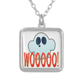 Mr Ghosty Wooo Square Pendant Necklace