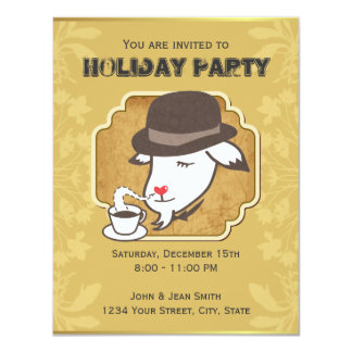 Mr. Goat & Coffee Holiday Party Custom Invitation