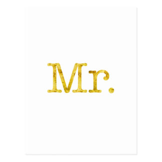 Mr. Gold Faux Glitter Metallic Inspirational Postcard