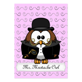 Mr. Gold Mustache Owl Pack Of Chubby Business Cards