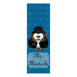 Mr. Gold Mustache Owl Pack Of Skinny Business Cards