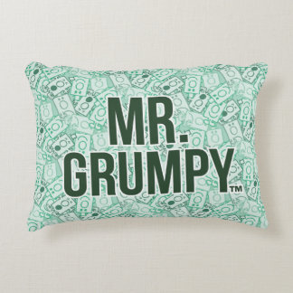 Mr Grumpy | Green Name and Character Toss Pattern Decorative Cushion