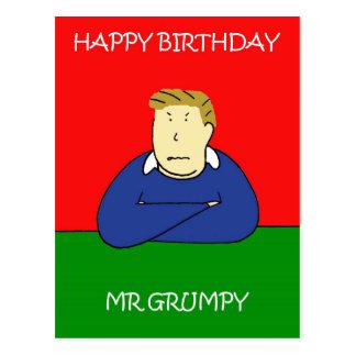 Mr Grumpy Happy Birthday Postcard