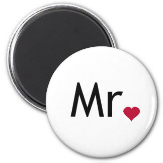 Mr - half of Mr and Mrs set 6 Cm Round Magnet