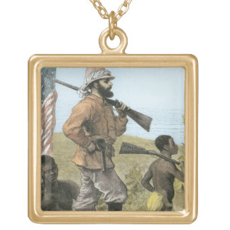 Mr. Henry Morton Stanley (1841-1904) Approaching L Gold Plated Necklace