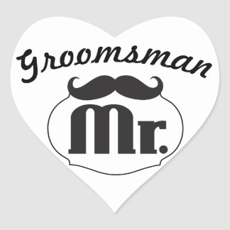 Mr. Hipster Funny Moustache Groomsman Heart Stickers
