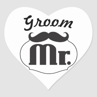 Mr. Hipster Funny Moustache Just Married Sticker