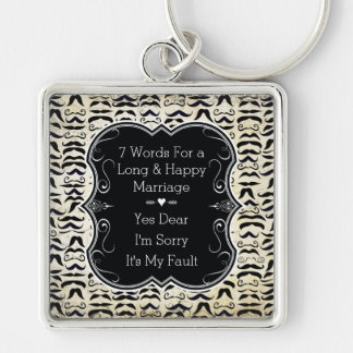 Mr. Hipster Mustache 7 Words Happy Marriage Silver-Colored Square Key Ring