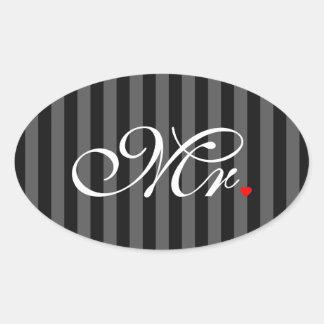 Mr. Husband Groom His Hers Newly Weds Oval Sticker