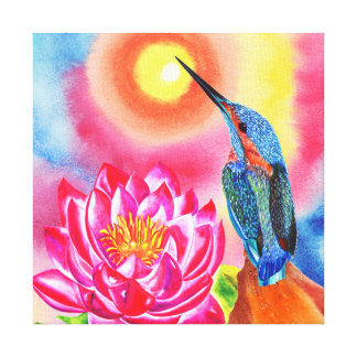 Mr Kingfisher and Pink waterlilly Canvas Print
