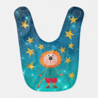 Mr Lion Shiny Stars Stripes Gold Baby Bib