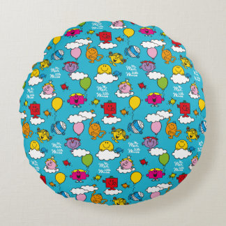 Mr Men & Little Miss   Birds & Balloons In The Sky Round Cushion